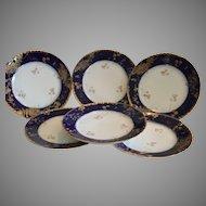 Set of 6 Plates~ Limoges Porcelain ~ Cobalt Blue ~ Gold Encrusted Rim ~ Charles Field Haviland GERARD, DUFRAISSEIX, and MOREL Limoges France 1891-1899