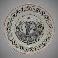 Alphabet ABC Childs Plate with Horse and Fan Design ~ W. Adams & CO Tunstall England 1896–1919