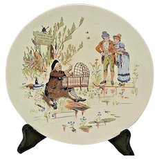 Character / Story Plate or Plaque ~ Man Making Baby Cradle~French Faience ~ Froment-Richard / Antoine-Albert Richard ~UTZSCHNEIDER & CO (Sarreguemines, France) – 1905-1910