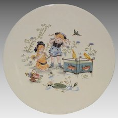 Wonderful French Faience Character / Story Plate or Plaque ~ Little Girls with Fish Tank~ Froment-Richard / Antoine-Albert Richard ~UTZSCHNEIDER & CO (Sarreguemines, France) – 1910-1930