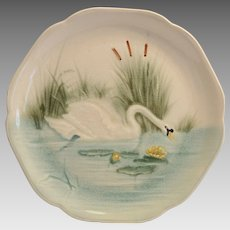 Majolica /Faience Pottery Cabinet Plate ~ Hard to Find ~ Decorated with Elegant Swan ~ H Boulenger & CO  Choisy Le Roi France ~ 1860-1910