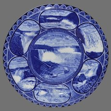 """Souvenir of Niagara Falls Plate ~10"""" ~  Earthenware flow blue ~R&M CO The Rowland & Marsellus Co. Staffordshire England 1893-1938 for CA Miller"""