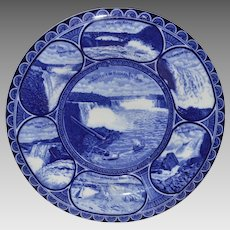 "Souvenir of Niagara Falls Plate ~10"" ~  Earthenware flow blue ~R&M CO The Rowland & Marsellus Co. Staffordshire England 1893-1938 for CA Miller"