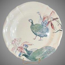 "French Guinea Hens  Plate ~10 3/8"" ~ French Faience Ironstone ~ Terre de Fer ~  Hautin & Boulanger Choisy le Roi France 1878 - 1920"