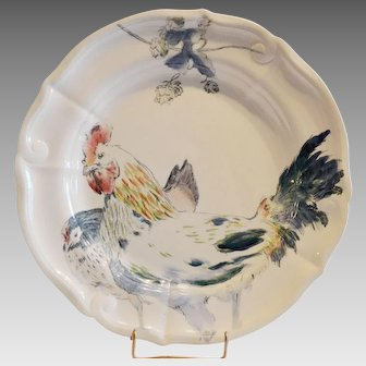 French  Hen / Rooster Plate ~ 10 3/8  ~ French Faience Ironstone ~ Terre de Fer ~  Hautin & Boulanger Choisy le Roi France 1878 -1920