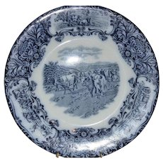 Plate with Horned Cattle ~ Flow Blue and White ~ Wedgwood & CO ENGLAND  1890-1910