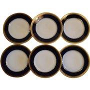 Set of 6 Plates~ Limoges Porcelain ~ Cobalt Blue ~ Gold Encrusted Rim ~ Charles Martin - Martin & Duches  Martin Freres  ~ Limoges France ~ Marshall Fields & Co  1912-1935