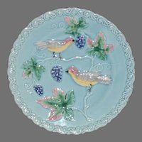 """Plate 8 ¾"""" German Majolica Turquoise ~ Birds, grapes and Leaves ~ Germany 1920's"""