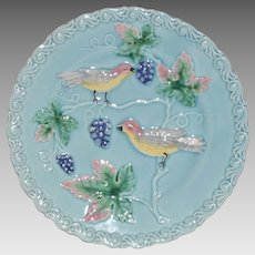 "Plate 8 ¾"" German Majolica Turquoise ~ Birds, grapes and Leaves ~ Germany 1920's"