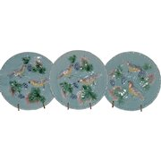 """3 - German Majolica Turquoise 7 ¾"""" Plates~ Birds, grapes and Leaves ~ Germany 1920's"""