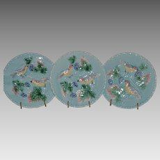 "3 - German Majolica Turquoise 7 ¾"" Plates~ Birds, grapes and Leaves ~ Germany 1920's"