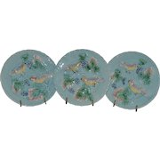 """3 Plates - German Majolica ~  7 3/4"""" ~Turquoise ~ Birds, grapes and Leaves ~ Germany 1920's"""