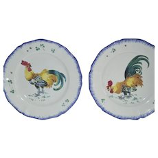 Two Faience Plate ~ with Roosters ~ Les Coqs ~ Keller Guerin  Luneville France 1890-1900's