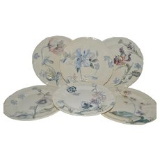 """Set of 6 Floral Plate ~9 3/8"""" ~ French Faience Ironstone ~ Terre de Fer ~ Hautin & Boulanger Choisy le Roi France 1878 – 1920  2 Additional Sets Available."""