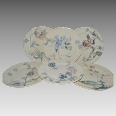 "Set of 6 Floral Plate ~9 3/8"" ~ French Faience Ironstone ~ Terre de Fer ~ Hautin & Boulanger Choisy le Roi France 1878 – 1920  2 Additional Sets Available."