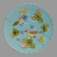 "German Majolica Turquoise Plate 8 ¾"" ~ Birds, grapes and Leaves ~ ZELL United Ceramic Factories - GEORG SCHMIDER (Germany) – ca 1907 - 1928 +"