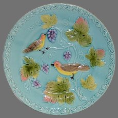 """German Majolica Turquoise Plate 8 ¾"""" ~ Birds, grapes and Leaves ~ ZELL United Ceramic Factories - GEORG SCHMIDER (Germany) – ca 1907 - 1928 +"""