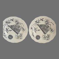 2 Plates ~English Aesthetic Black Transferware ~ Miako Pattern ~ Powell, Bishop & Stonier Hanley England 1867 - 1878