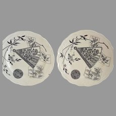 2 Plates ~English Aesthetic Black Transferware ~ Miako Pattern ~ Powell, Bishop & Stonier Hanley England 1867 - 1878