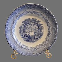 Earthenware Plate ~ Blue and White transferware ~Podmore, Waker & CO  England 1835-1859