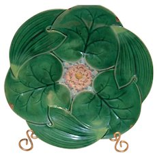 PLT1477: Majolica Plate ~  Lily Pond Design ~ George Jones England 1861-1873
