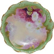 50% OFF! Limoges  Plate ~ Burgundy, Pink & White Chrysanthemums by A. Bronsillion – B & H Limoges France 1900-1914  & Coiffe