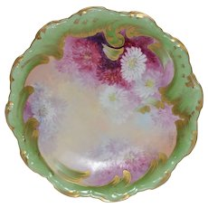 Limoges  Plate ~ Burgundy, Pink & White Chrysanthemums by A. Bronsillion – B & H Limoges France 1900-1914  & Coiffe