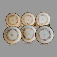 "12 Limoges Porcelain 7"" Plates ~ Hand Painted with Beautifully Colored Flowers ~ Charles J Ahrenfeldt 1894-1930"