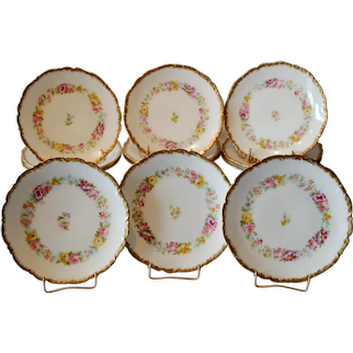 """12 Limoges Porcelain 7"""" Plates ~ Hand Painted with Beautifully Colored Flowers ~ Charles J Ahrenfeldt 1894-1930"""