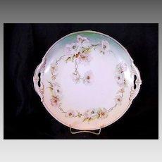 50% OFF! Cake Plate ~ Open Handled Austrian Porcelain  Decorated White Poppies ~ MZ Austria (Moritz Zdekauer) 1884-1909