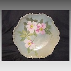 Wonderful Limoges Porcelain Cabinet Plate Hand Painted with Soft Pink & White Wild Roses by MAX ~ Flambeau China – 1891-1901