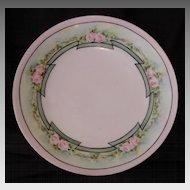 50% OFF!  Wonderful Plate ~Art Nouveau ~Limoges Porcelain ~ Hand Painted with Delicate Pink Roses ~ Artist Signed ~ T&V Tressemann & Vogt ~1892 -1907
