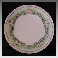 50% OFF!  Wonderful Plate ~Art Nouveau ~Limoges Porcelain ~ Hand Painted with Delicate Pink Roses ~ Artist Signed ~ T&V Tressemann & Vogt ~1892 -1907