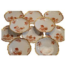 Set of (10) Limoges Porcelain Luncheon Plates ~ Rococo Rim ~ Rust & Burnt Orange Colored Flowers ~ Coiffe / Elite. ca.:1891-1900