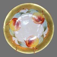 "Exquisite Limoges Porcelain Cabinet Plate ~ Hand Painted with 1"" Gold Rim and Ripe Peaches ~ Elite Limoges France 1900-1914"