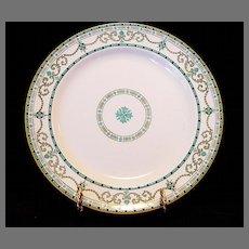 Beautiful English Cabinet Plate with Raised Enamel Geometric Designs ~ Ridgways