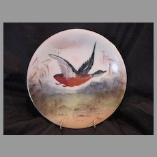 Handsome Limoges Porcelain Game Plate ~ Hand Painted With a Mallard Drake in Flight ~ Artist Signed ~ Charles Martin 1891-1900