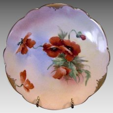 """50% OFF!  Vibrant  Orange Poppies ~ Porcelain Cabinet Plate ~ Pickard Studio Decorated,Mark 4 ca.-1905~ By Artist """"Florence James"""""""