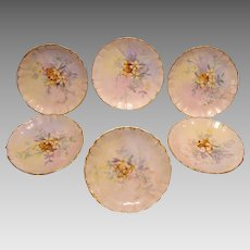 "Expertly Decorated Limoges Plates ~(6) beautiful  6"" Plates ~ Hand Painted with Pastel Colored Flowers ~ William Guerin ca.1900 – 1919"