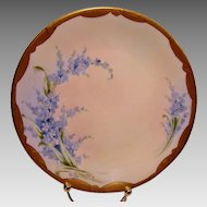 50% OFF!  Lovely Pickard Studio forget-me-nots Cabinet Plate ~ Hand Painted and signed by Zuie Mc Corkle ~ 1905-1910