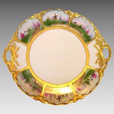 Two handled Cake Plate ~Limoges Porcelain ~ Hand Painted with Six Scenic Panels ~ Haviland France ~ 1894-1931