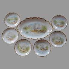 Limoges Game Set ~ Shore Birds in Marsh Land Scenes ~ Hand Painted ~ Elite Works / Pitkin & Brooks Studio Chicago Il ca.1903-1917