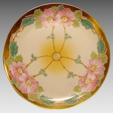 50% OFF!  STOUFFER Decorated ~ Limoges Porcelain ~ Art Nouveau ~ Hand Painted with Pink Wild Roses ~ Artist Signed~ Gerard Dufraisseix and Abbot  ( GDA ) 1905 - 1906