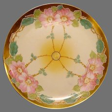 STOUFFER Decorated ~ Limoges Porcelain ~ Art Nouveau ~ Hand Painted with Pink Wild Roses ~ Artist Signed~ Gerard Dufraisseix and Abbot  ( GDA ) 1905 - 1906