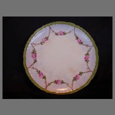 Beautiful Limoges Porcelain Cabinet Plate ~ Hand Painted with Swags of Pink Roses ~ Artist Initialed ~ Theodore Haviland 1894-1903