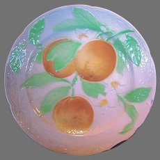 BEAUTIFUL Antique French Majolica Faience Plate with Oranges ~ St Clements, France  early 1900's