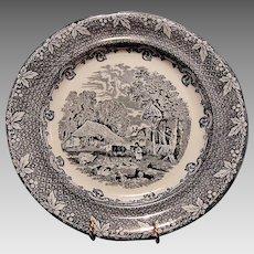 "Fabulous Blue Black Transfer Plate ~ ""Farm"" Pattern ~ George Jones & Sons Staffordshire, UK 1874-1924"
