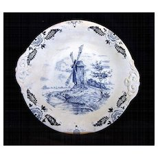 """Awesome German Earthenware Cake Plate Decorated with Cobalt Blue Wind Mill Scene """"Royal Bonn Delft"""" ~ FRANZ ANTON MEHLEM EARTHENWARE FACTORY (Bonn, Germany)  1887-1920"""