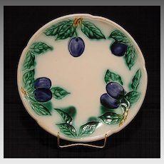 Wonderful Old German Majolica Cabinet Plate Decorated with Cobalt Blue Plums