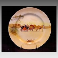 """ Hard to Find""  Royal Doulton's Coaching Days Series Plate~  D2716 Scene #3~ ""Youth holding a front pair of horses"".  ~ Royal Doulton England 1906"